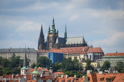 Prague Castle, as seen from beside the Charles Bridge.