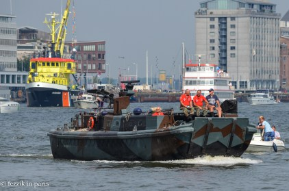 ...and military boats...