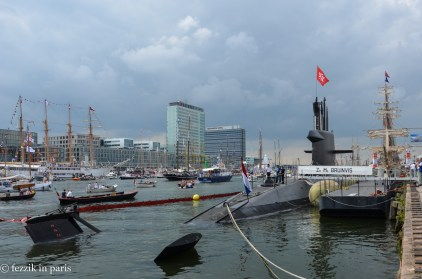 The navy had a warship and a submarine.