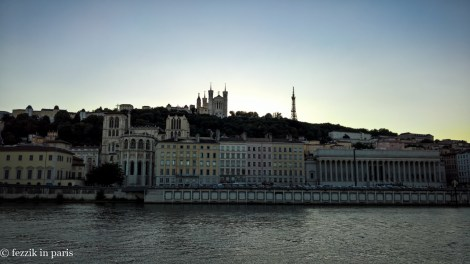Vieux Lyon at dusk, as seen from presqu'ile.