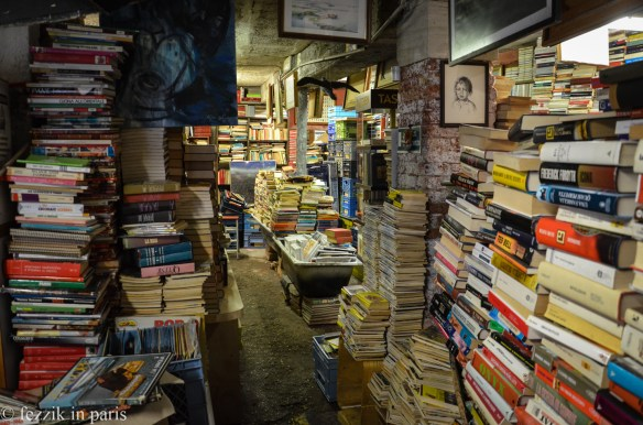A bookstore that has given up on being periodically flooded, hence the books in boats, bathtubs, and other floatables.