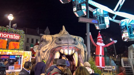 """We committed to standing in line for the """"funny Christmas monster"""" after we saw crying children returning from their run through it. A boring walk through dragon """"intestines"""" punctuated by a guy in a gorilla mask jumping out at you is funny, apparently."""