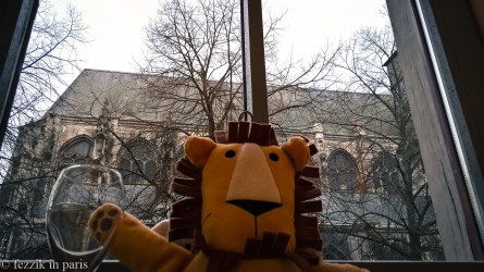 Marco enjoying the view (and appreciating being inside, where it's warm) at Le hotel de Bourgtheroulde in Rouen.