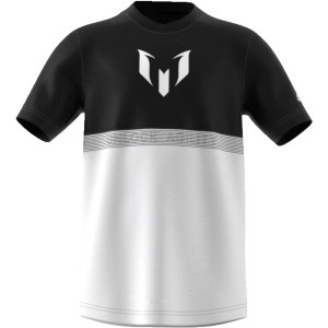 adidas Performance - Αγορίστικη κοντομάνικη μπλούζα MESSI μαύρη-λευκή