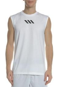 adidas Performance - Ανδρική αμάνικη μπασκετική μπλούζα adidas PM SL λευκή