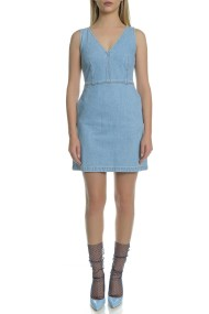 CALVIN KLEIN JEANS - Γυναικείο αμάνικο τζιν μίνι φόρεμα Calvin Klein Jeans μπλε