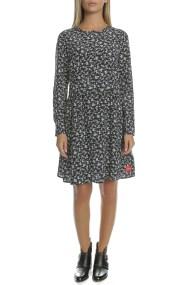 CALVIN KLEIN JEANS - Γυναικείο midi φόρεμα FLOWER PRINT CALVIN KLEIN JEANS μαύρο-λευκό