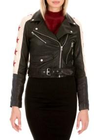 GOOSECRAFT - Γυναικείο δερμάτινο jacket GOOSECRAFT DEY BIKER μαύρο λευκό μπλε