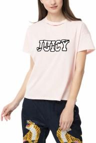 JUICY COUTURE - Γυναικείο t-shirt Juicy Couture LOGO SPLIT NECK GRAPHIC ροζ