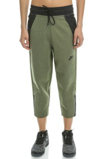 NIKE - Γυναικείο crop παντελόνι φόρμας Nike TCH FLC χακί