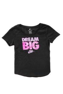 NIKE - Κοριτσίστικη κοντομάνικη μπλούζα ΝΙΚΕ NSW TEE SCOOP DREAM BIG μαύρη