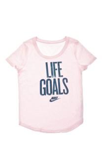 NIKE - Κοριτσίστικη κοντομάνικη μπλούζα NIKE NSW TEE SCOOP LIFE GOALS ροζ