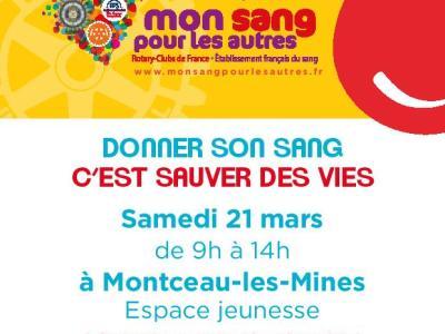 Saône-et-Loire : Venez donner votre sang le 21 mars à Montceau-les-Mines