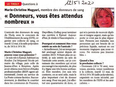 Vosges : «Donneurs, vous êtes attendus nombreux»