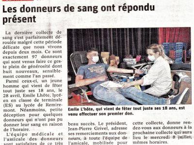 Vosges : «Les donneurs de sang ont répondu présent»