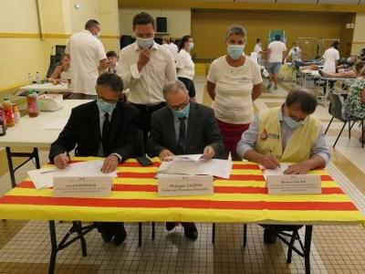 Pyrénées-Orientales : Signature de la convention tripartite EFS – Préfecture 66 – UD 66