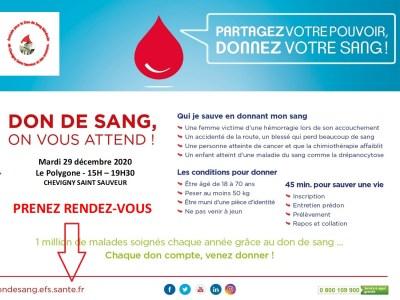 Côte-d'Or : Venez donner votre sang le 29/12/2020 à Chevigny-Saint-Sauveur