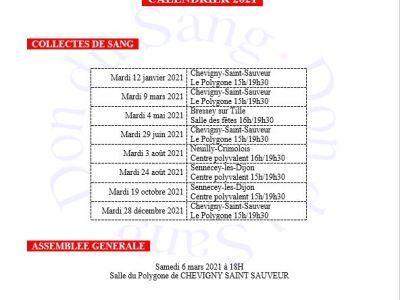 Côte-d'Or : Calendrier des collectes 2021 pour Chevigny-Saint-Sauveur