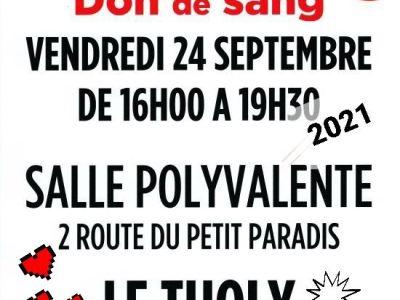 OFFREZ VOTRE SANG – LE THOLY (Vosges) Vendredi 24 septembre 2021