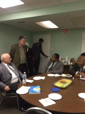 (l-r) Brian Zakem of Temple Bnai Yehudah Beth Shalom in Homewoood, IL, Walter Ruby, Imam Wallace D. Muhammad, Imam Alfred Muhammad
