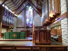 The pulpit was moved for the filming to the other side of the altar.