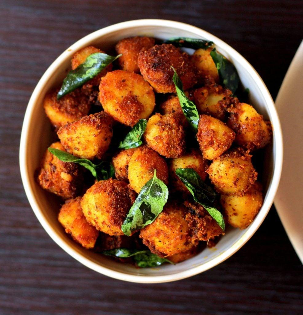 Seppankizhangu Roast / Arbi Fry in a bowl