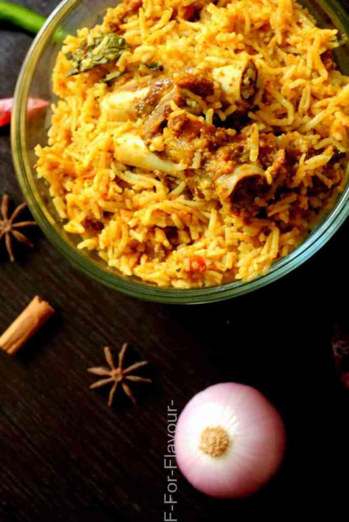 serving mutton biryani