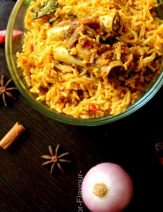 Chettinad Mutton Biryani in Pressure Cooker