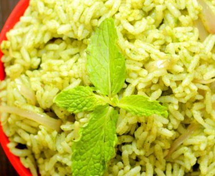 Mint Rice , Pudhina Rice for Lunchbox
