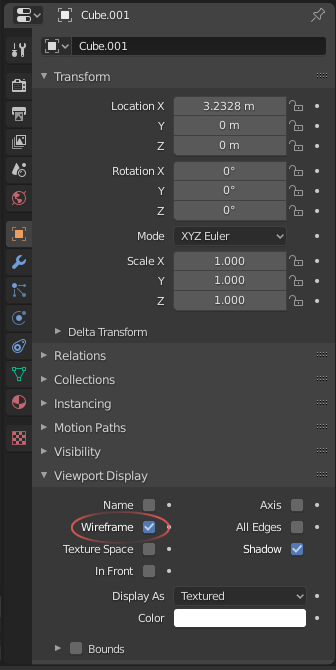 Image showing the location of the wireframe option within the Blender UI