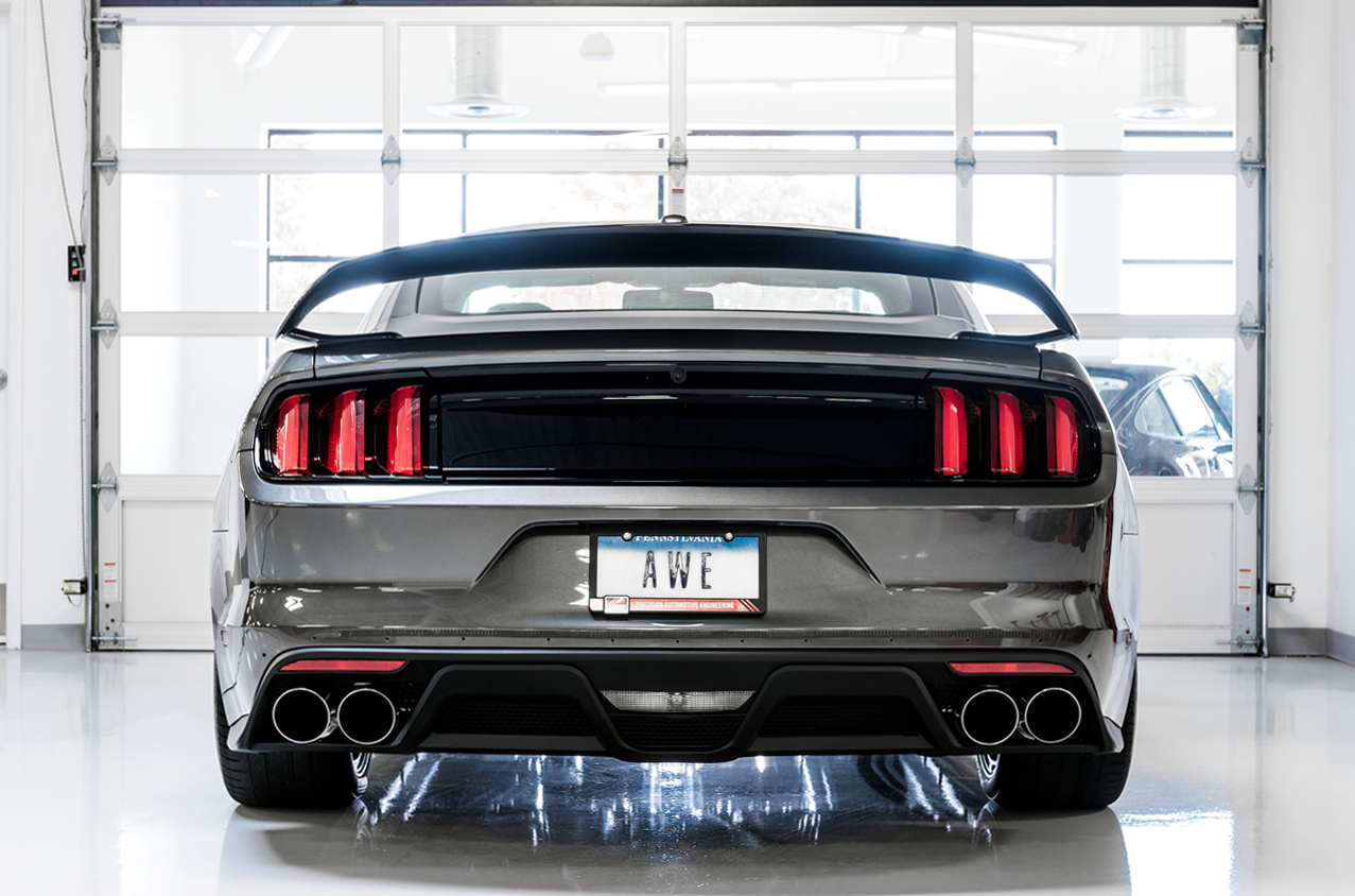 awe 2015 2017 ford mustang gt track edition cat back exhaust quad tip