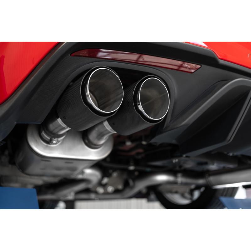 mbrp 2018 2021 ford mustang gt 3 cat back t304 dual quad split rear exit active exhaust w carbon fiber tips