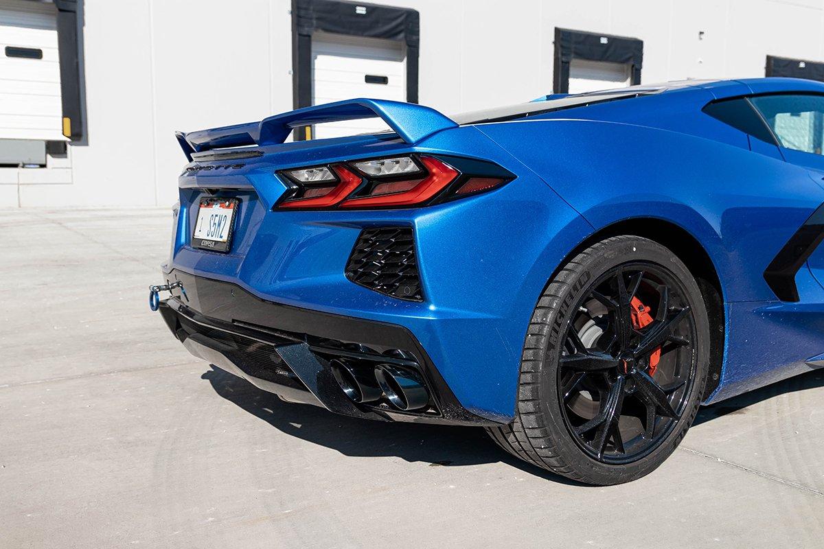 corsa performance 2020 2021 chevrolet corvette c8 variable sound level 3 0in afm cat back exhaust black quad 4 5in npp tips