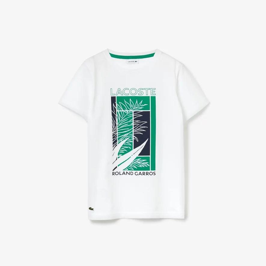 lacoste x roland garros vegetal print t shirt white