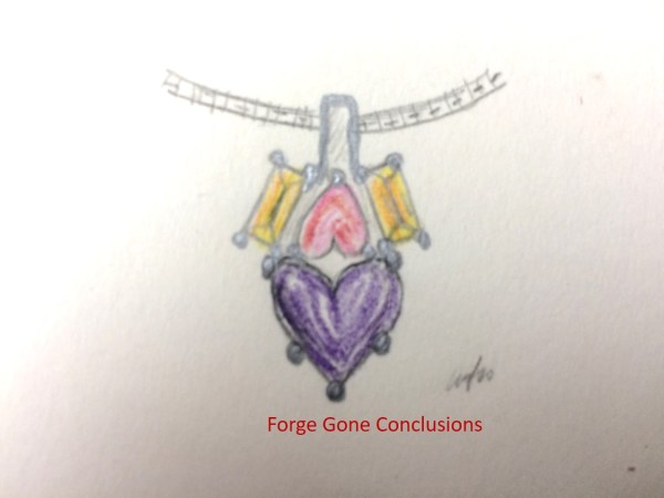 This shows two hearts- a pink and purple one with yellow side stones