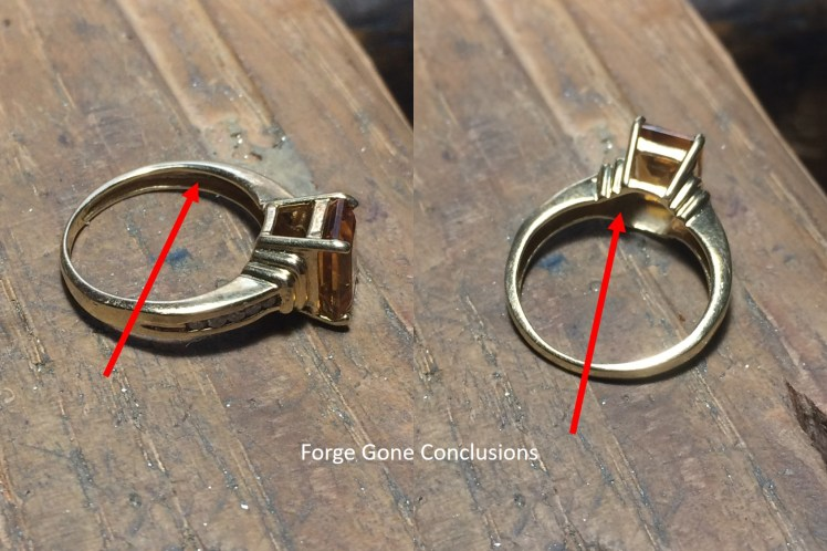 Picture is of an orange ring that has arrows pointing to it that it is hollow.