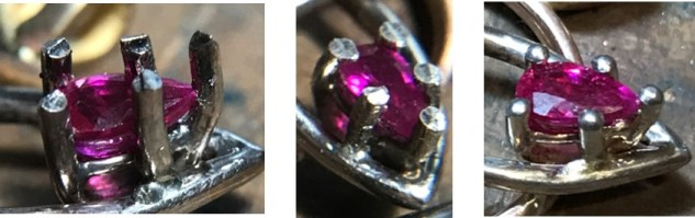 Picture of a how a prong is made. A progression of images showing a prong going from sharp to rounded.