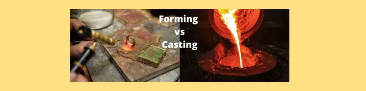 How Custom Jewelry is Made - Picture of a hand torch heating a ring and a picture of molten metal being poured into a mold