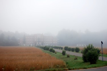 Path to the catholic retreat, foggy morning