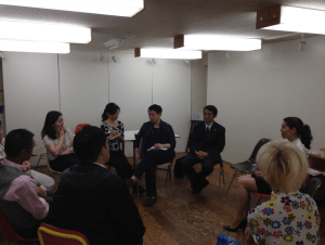 James Chau, speaking to key AIDS activists at akta community center