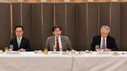 FGFJ Diet Task Force Co-chairs, Hon. Ichiro Aisawa (center) and Hon. Motohisa Furukawa (left), with Akio Okawara (right), president of JCIE/ Japan