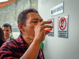 Samsuri, 45, takes methadone at Puskesmas Jatinegara (Jatinegara Health Center) in East Jakarta 28 November 2018. He was using heroin for 10 years but started his treatment since 2006. He has taken a HIV test but afraid to find out the results. (Jiro Ose / The Global Fund)