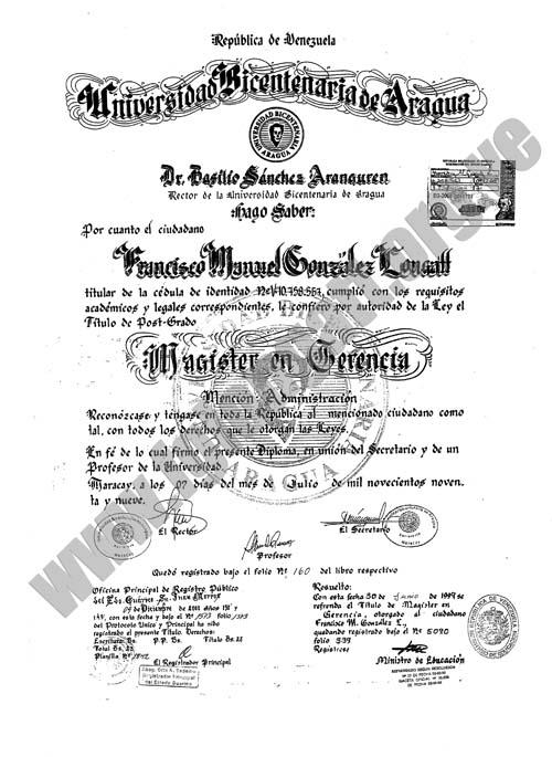 Master Qualification of Professor Francisco M. Gonzalez