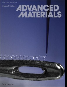 Back cover of june 24th 2015 issue of Advanced Materials. It features the work of Passieux et al.