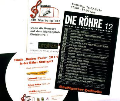 Konzertankündigungen: Marienplatz, Röhre, Original-Flyer der Röhre vom Dezember 2011
