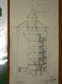 Konstruktionszeichnung eines Rundturms.