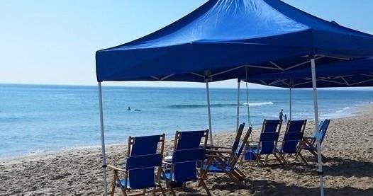 beach cabana and chair
