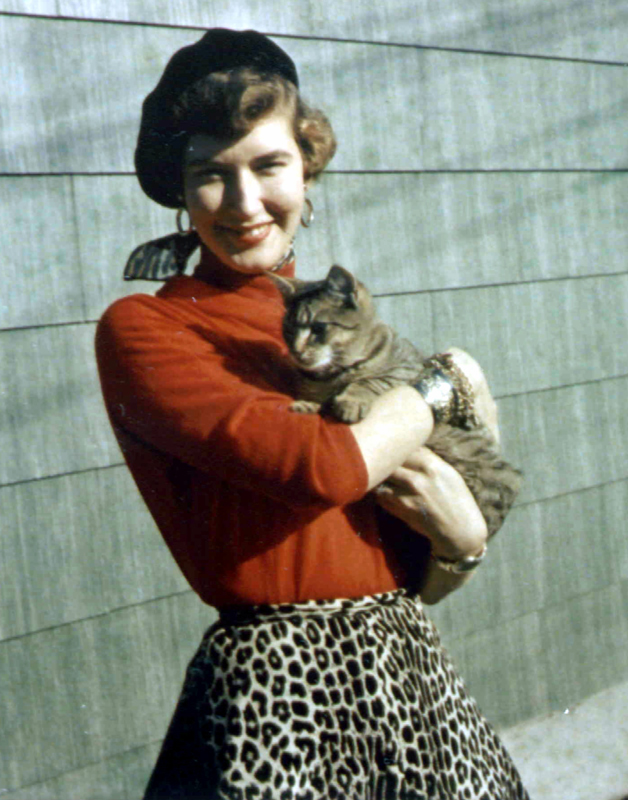 woman holds cat while wearing dress with cat pattern print