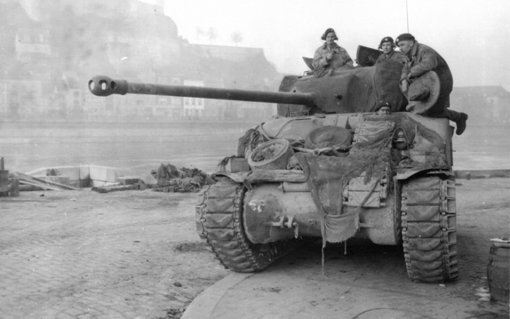 British soldiers on a tank in WW2