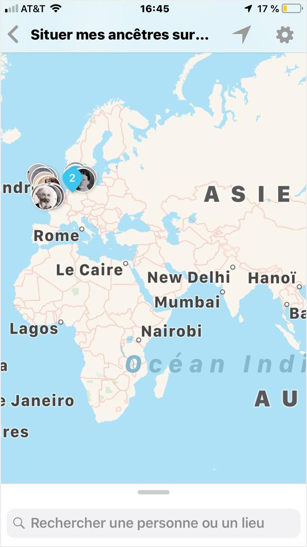 ancêtres sur la carte du monde sur un appareil iOS